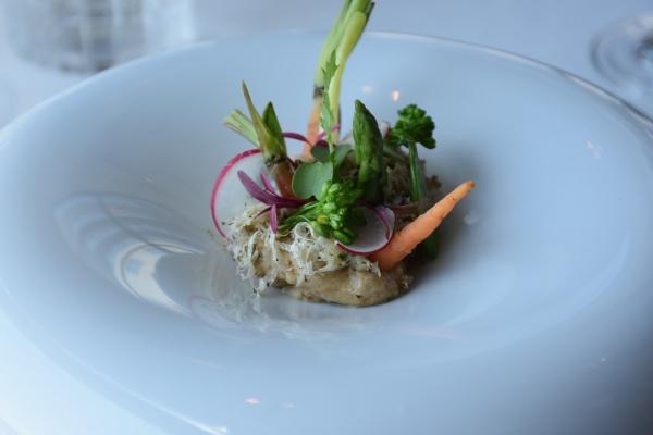 Ensalada, mouse de boletus con trufa de verano con microvegetales